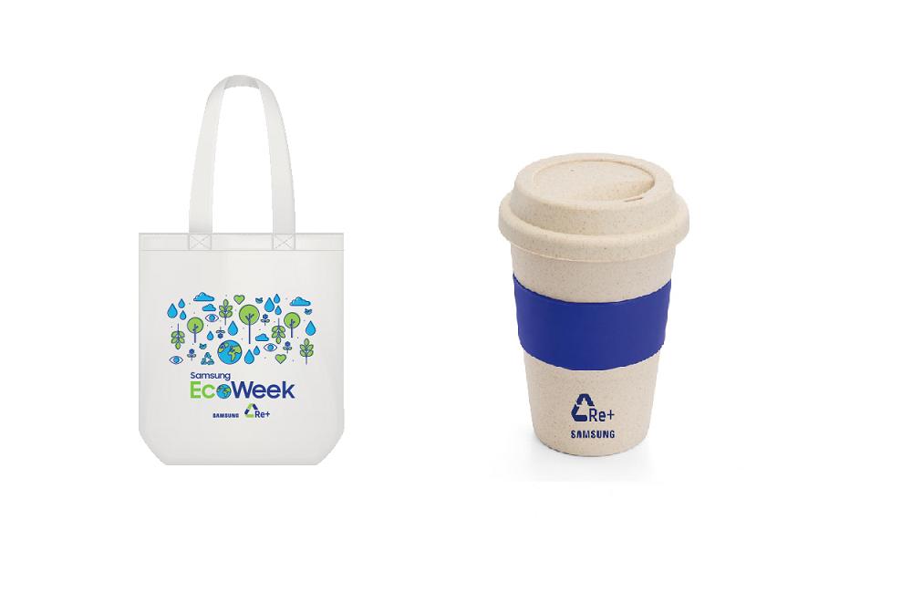 Ecobag e copo personalizado que criados pela Samsung para a EcoWeek