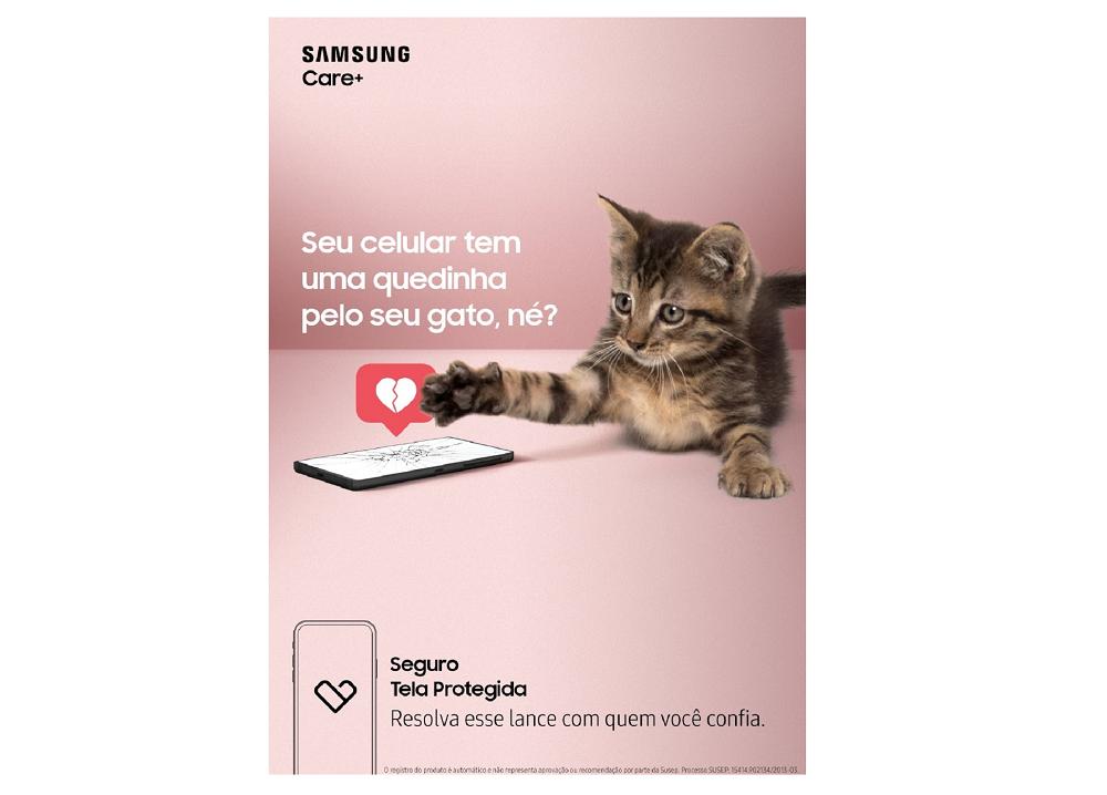 Anúncio do programa Samsung Care+ para seguro de smartphones