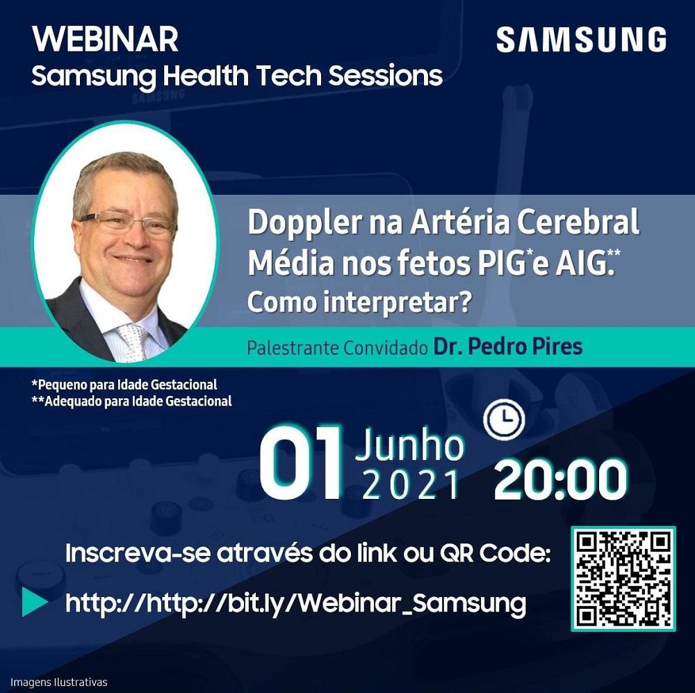 Convite para webinar da série Samsung Health Tech Sessions sobre uso de ultrassom em gestação de alto risco